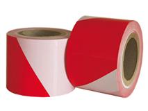 Absperrbänder rot-weiß gestreift - 75 mm breit