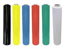 Stretchfolie, schwarz - weiß - blau - grün - rot - gelb für die Verarbeitung von Hand