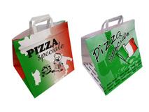 Tragetaschen aus Papier mit Pizzamotiv bedruckt