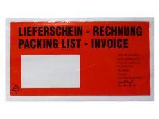 Lieferscheintaschen, rot - DIN Lang - 235x130 mm - Lieferschein / Rechnung