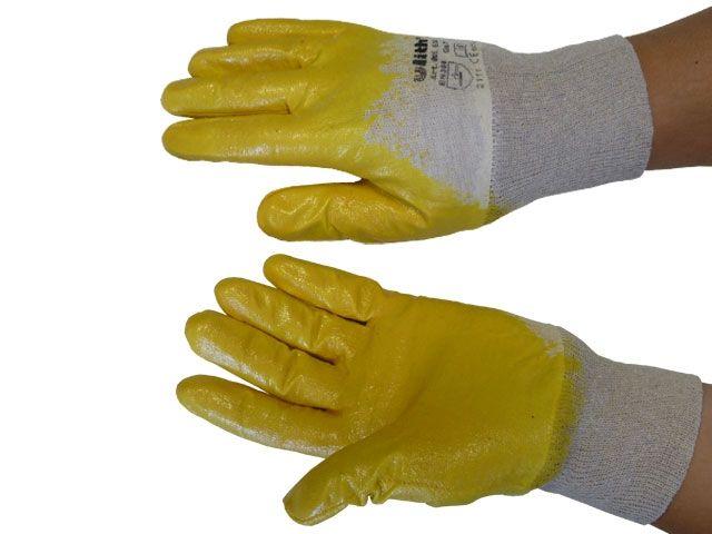 Baumwoll-Arbeitshandschuhe - Größe 8 - mit gelber Nitril-Beschichtung