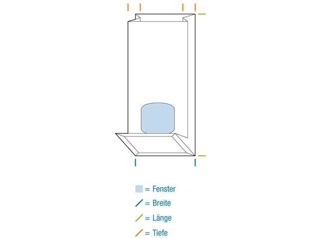 Blockbodenbeutel, braun - 80x50x250 mm - 250 g - mit Sichtfenster