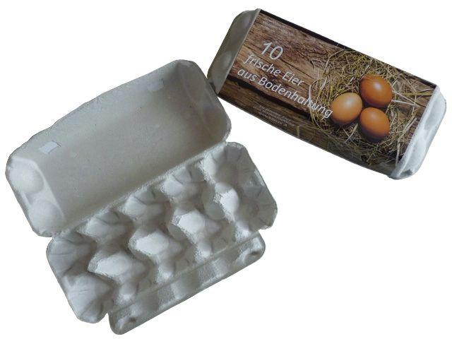 Eierkarton für 10 Eier - mit Druck Bodenhaltung