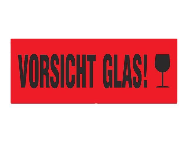 warnetiketten rot 95x35mm vorsicht glas verpackungsmaterial kartons klebeband. Black Bedroom Furniture Sets. Home Design Ideas