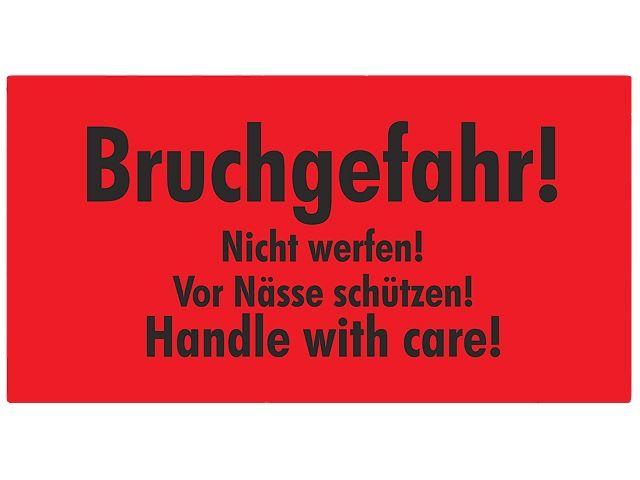 Warnetiketten, rot - 145x76mm - Bruchgefahr! Nicht werfen! Vor Nässe schützen! Handle with care!