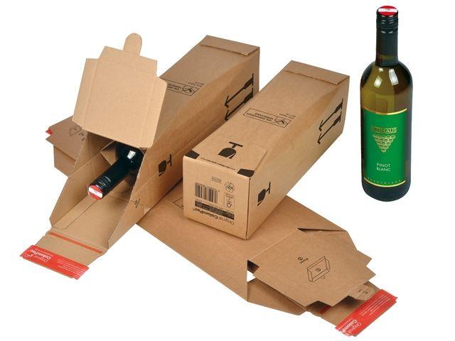 DHL zertifizierte Flaschenverpackung, braun - für 1 Flasche - 305x74x74 mm - ColomPac 181.101
