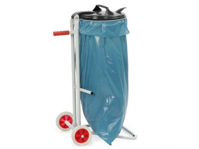 Fetra Müllsackständer, grau - für 120 Liter Säcke - mit 2 Standfüßen u. 2 Vollgummireifen