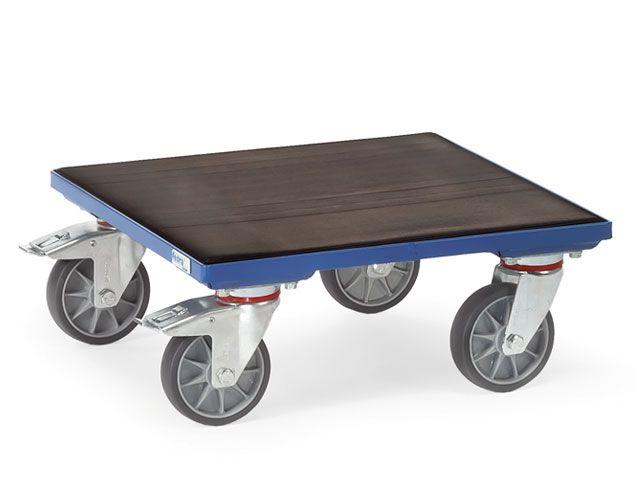Fetra Kistenroller - Typ KF 61 G - 600x600x201 mm - Holz-Plattform u. Riefengummi bespannt - bis 400 kg