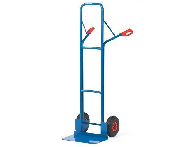 Fetra Stahlrohr-Sackkarre - mit Vollgummireifen - Höhe 1600 mm - Schaufelbreite 480 mm - bis 300 kg