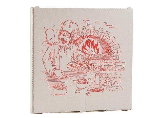 Pizzakartons aus Wellpappe, weiß - 29x29cm - Funny AG-446