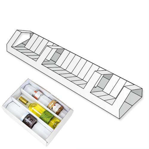 Variable Einlage für Geschenkkartons mit Standardeinlage - weiß / natur 380 mm