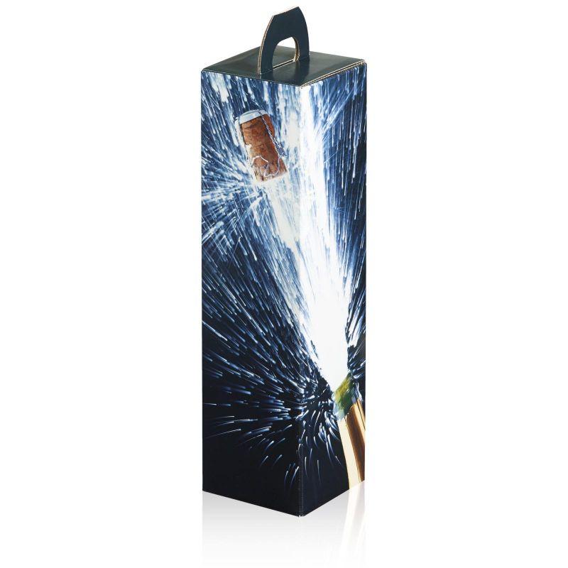 Geschenkkarton, cest la vie - für 1 Wein- oder Sektflasche - 90x90x355 mm