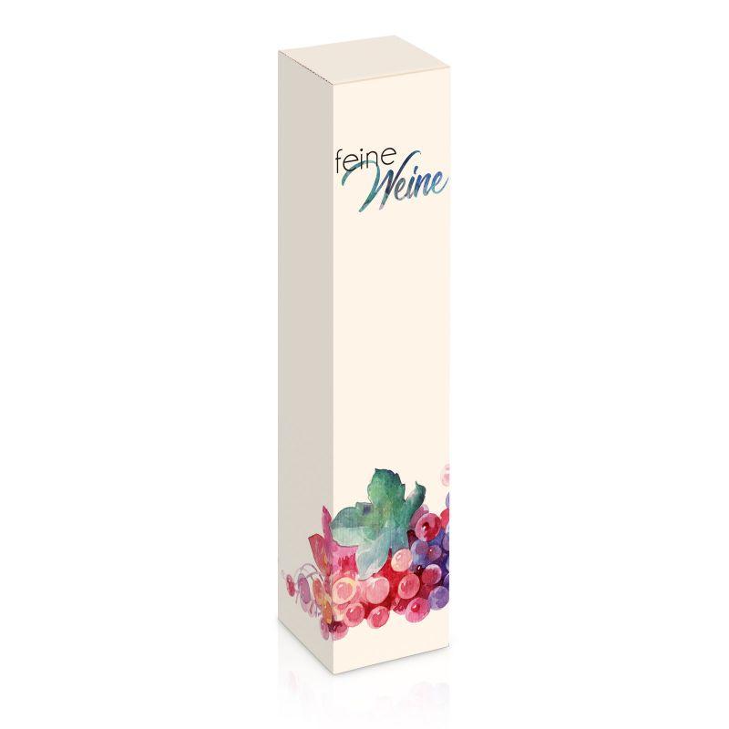 Geschenkkarton, Feine Weine - für 1 Weinflasche - 77x77x360 mm