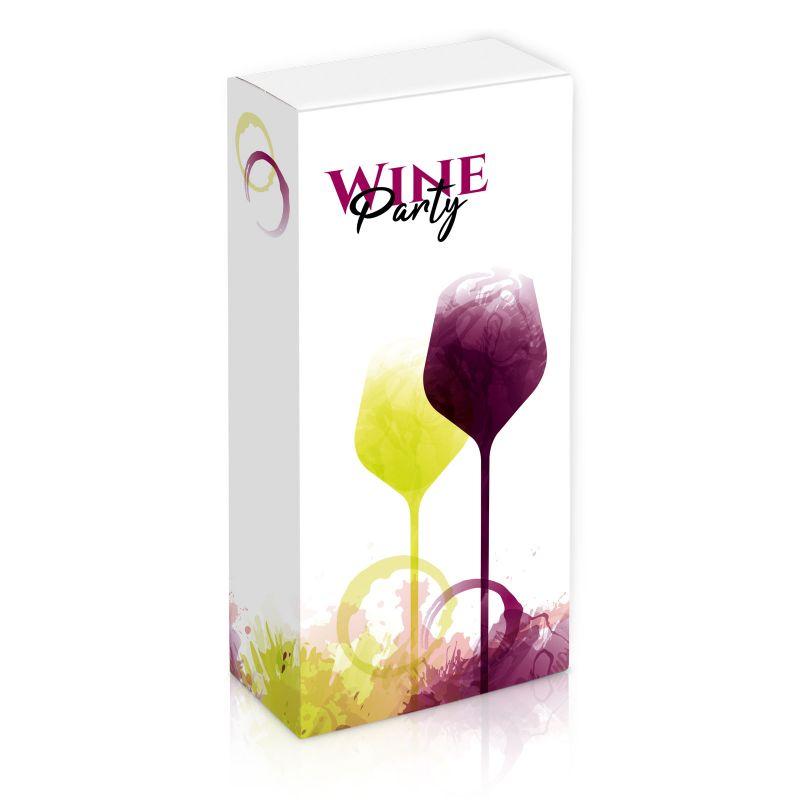 Geschenkkarton, Wineparty - für 2 Weinflaschen - 160x80x360 mm
