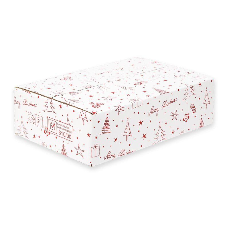 Versandkarton für 3er Geschenkverpackung, Merry Christmas - 400x280x110 mm