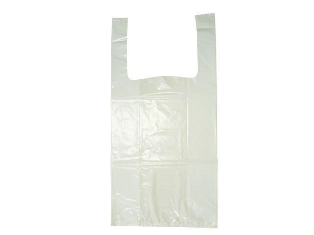 HDPE-Hemdchentragetaschen, weiß - TYP 8 - 28+14x48 cm - geblockt zu 100 Stück