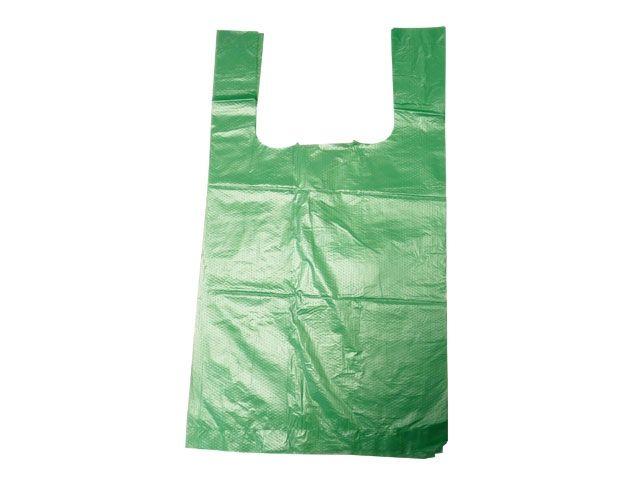 HDPE-Hemdchentragetaschen, grün - TYP 12 - 30+16x52 cm - geblockt zu 100 Stück
