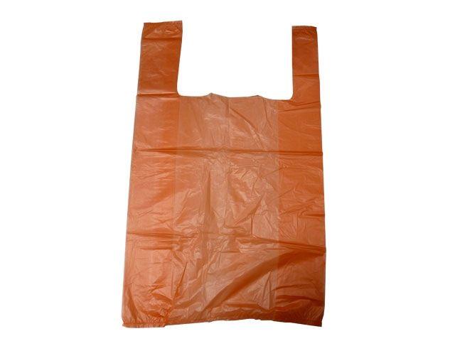HDPE-Hemdchentragetaschen, orange - TYP 12 - 30+16x52 cm - geblockt zu 100 Stück