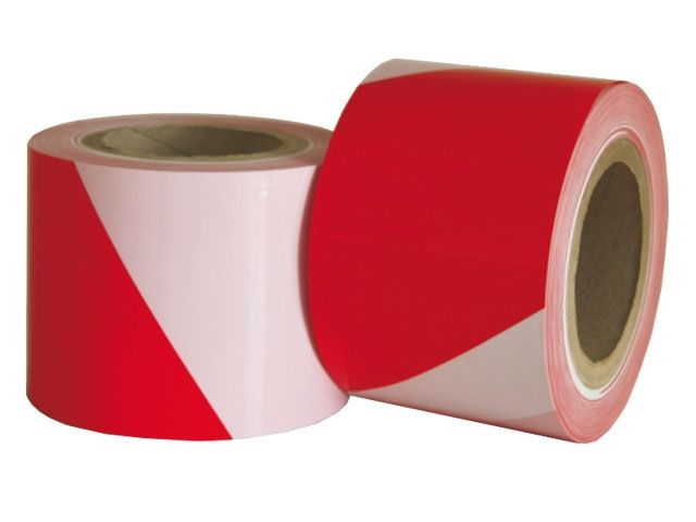 Absperrbänder aus LDPE, rot-weiß - 100mmx100m - 50µ