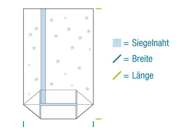 OPP-Kreuzbodenbeutel, hochtransparent 145x235 mm - 30 µ - Motiv: Weihnachtsstern