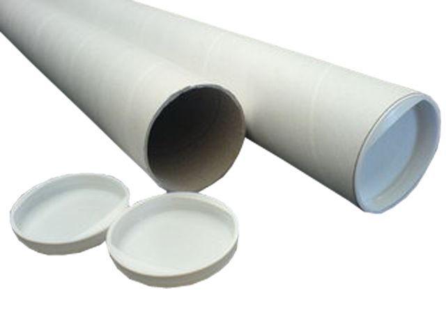 Versandrohre mit weißen Deckeln 240/224x40x1,5mm - A4