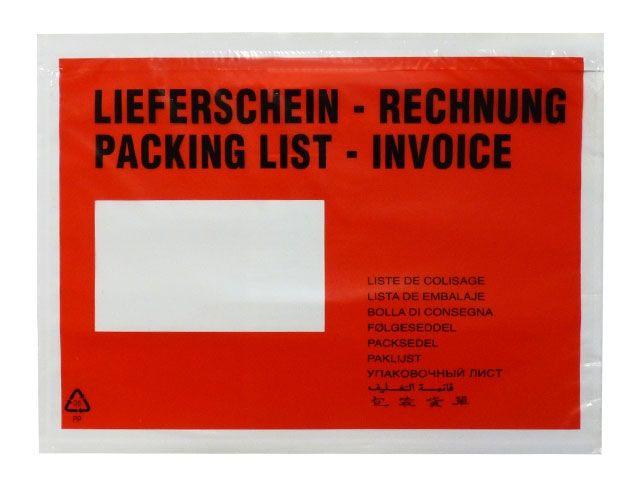 Lieferscheintaschen, rot - DIN C5 - 235x175 mm - Lieferschein / Rechnung