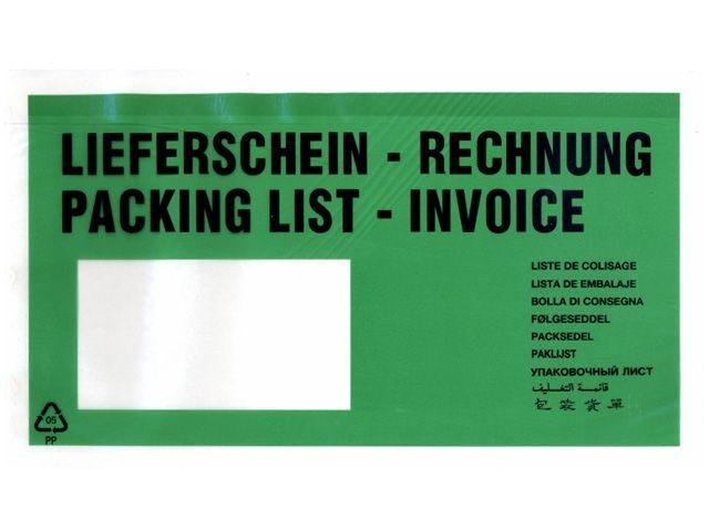 Lieferscheintaschen, grün - DIN Lang - 235x130 mm - Lieferschein / Rechnung