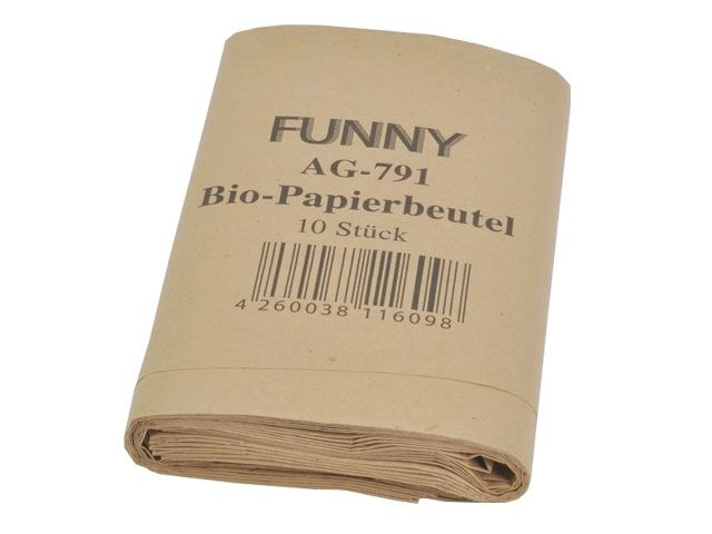 Bio-Papierbeutel, braun - 200 + 170 x 360 mm - ca. 10 Liter - Funny AG-791