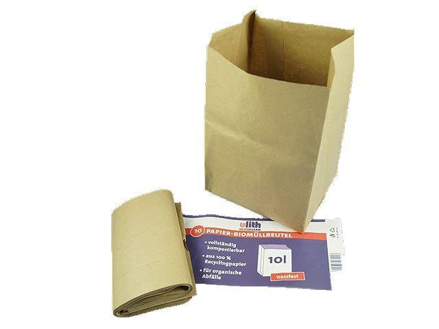 Ulith Papier-Biobeutel - nassfest - 70g/m² 10 L - 200x160x340 mm