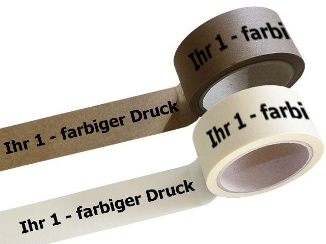 bedrucktes Papierselbstklebeband, mit 1-farbigen individuellemPositiv-Druck - mit synthetischem Kautschukklebstoff