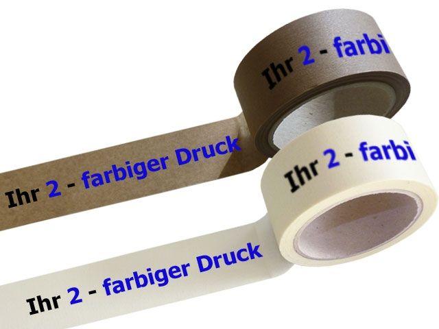 bedrucktes Papierselbstklebeband, mit 2-farbigen individuellemPositiv-Druck - mit synthetischem Kautschukklebstoff