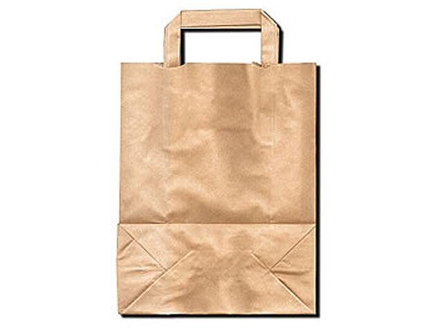 Tragetaschen aus braunem Papier - 220+100x280 mm - 70 g/m²