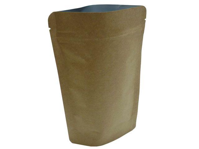 Standboden-Aluminumverbundfolienbeutel - Kaffeebeutel - Kraftpapier braun - 85x50x140 mm - 100 ml
