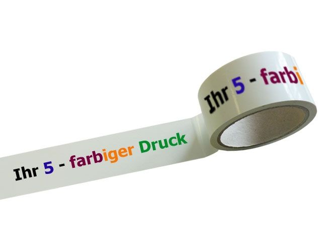 bedrucktes Klebeband aus PP mit 5-farbigem Positiv-Druck - laut abrollend - 45my Gesamtstärke