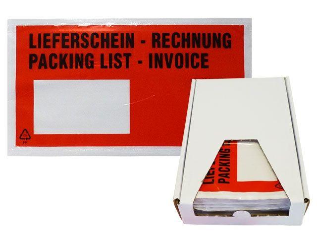 Lieferscheintaschen, rot - DIN Lang - Lieferschein/Rechnung - Spendekarton 250 Stück