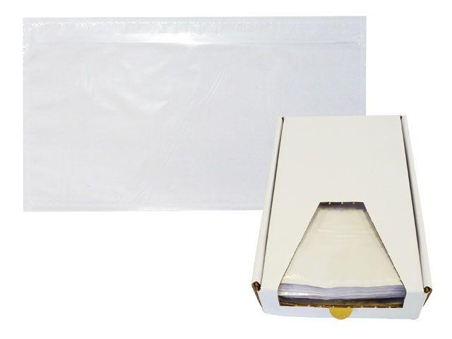 Lieferscheintaschen, transparent - DIN Lang - Lieferschein/Rechnung - Spendekarton 250 Stück
