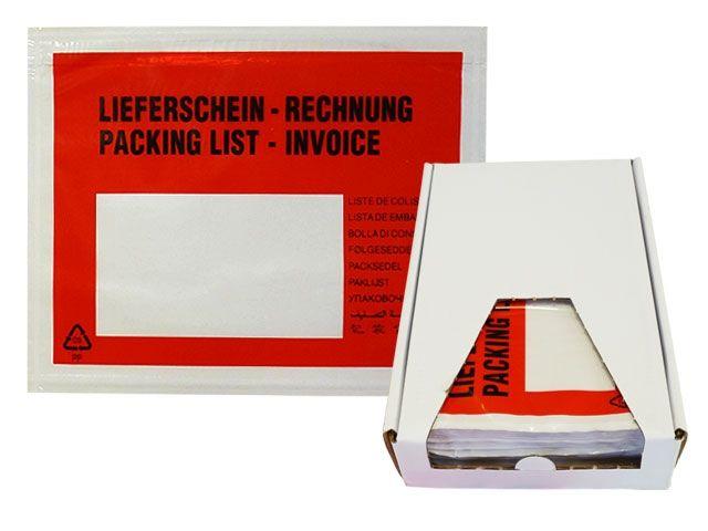 Lieferscheintaschen, rot - DIN C6 - Lieferschein / Rechnung - Spendekarton 250 Stück