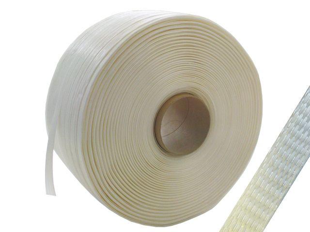 Polyester Kraftband, weiß - gewebt - 19 mm x 600 m - Reißkraft 550 kg