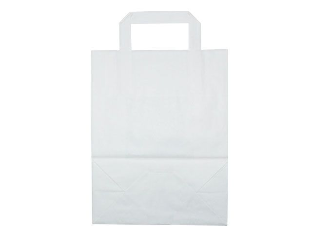 Tragetaschen aus weißem Papier - 220+100x280 mm - 70 g/m²