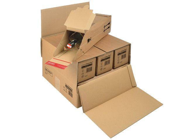 Umkarton DHL zertifizierte Flaschenverpackung, braun - für 3 bzw. 6 Flaschen - 375x365x250 mm - ColomPac 181.006