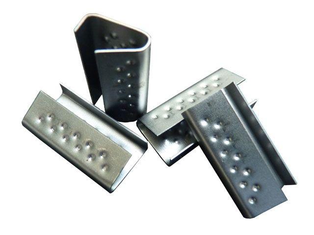 Verschlusshülsen für Umreifungsband aus PP, geriffelt 16x28x0,5 mm