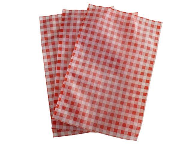 Siegelrandbeutel / Vakuumbeutel 180x250 mm - 80 µ - mit Druck Karo rot-weiß
