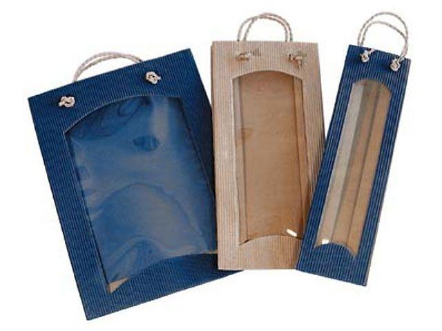 flaschenbeutel f r 2 weinflaschen blau mit sichtfenster. Black Bedroom Furniture Sets. Home Design Ideas