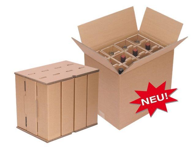 Flaschenverpackung - für 9 Flaschen - 352x345x398 mm - mit PTZ-Zulassungen