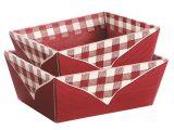 Picknickkorb, bordeaux/creme - Bodenformat: 193x144 mm - Öffnungsformat: 230x100x95 mm