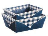 Picknickkorb, saphir/creme - Bodenformat: 193x144 mm - Öffnungsformat: 230x100x95 mm